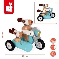 Drewniany motocykl z bocznym wózkiem w stylu retro spirit philip,18 m+, janod - philip