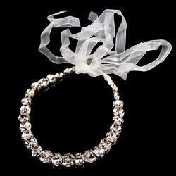 Opaska do włosów ślubna wiązana cyrkonie złota