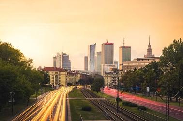 Warszawa centrum w słońcu - plakat premium wymiar do wyboru: 120x90 cm