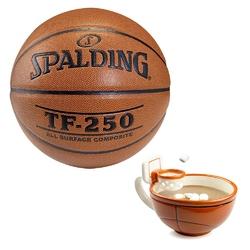 Piłka spalding tf-250 indooroutdoor do koszykówki + koszykarski kubek nba maxis