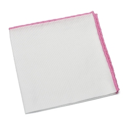 Biała bawełniana poszetka gładka hemley z różową obwódką