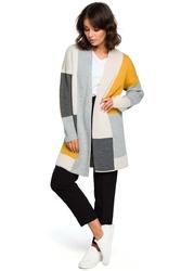 Grafitowy dłuższy sweter kardigan w kolorowe prostokąty