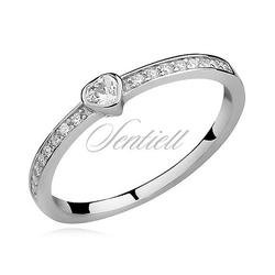 Srebrny delikatny pierścionek pr.925 cyrkonia biała - biała