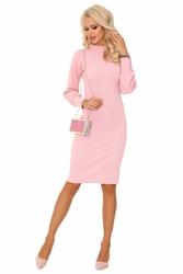 Różowa gustowna ołówkowa sukienka na stójce