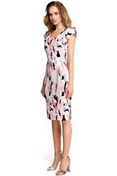 Dopasowana Sukienka w Pastelowy Deseń z Ozdobnym Rękawkiem - Wzór 2