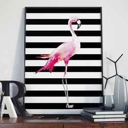 Flamingo - plakat w ramie , wymiary - 60cm x 90cm, ramka - biała