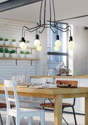 Lampa wisząca do dużego salonu, żarówki na czarnych przewodach basso candellux 38-71057