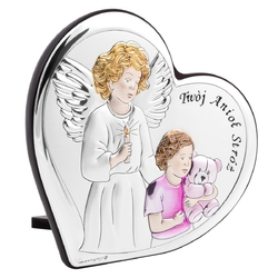 Obrazek z aniołem stróżem serce z różem z grawerem
