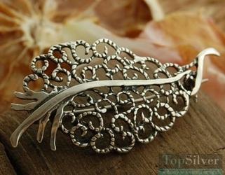 Ażurowy liść - broszka piękna brosza