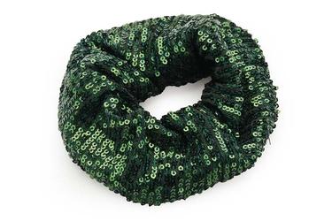 Gumka do włosów z cekinami - zielona