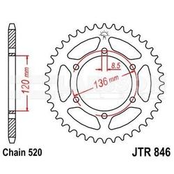 Zębatka tylna stalowa jt 846-45, 45z, rozmiar 520 2300483 yamaha srx 600