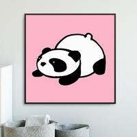 Pink panda - plakat dla dzieci , wymiary - 20cm x 20cm, kolor ramki - czarny