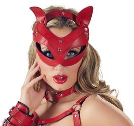Kocica maska na głowę  ekoskóra czerwony | 100 oryginał| dyskretna przesyłka