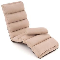 Sofa rozkładana 175x65x15 cm khaki pojedynczy fotel rozkładany