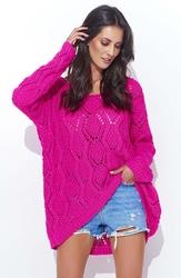 Amarantowy luźny sweter z szerokim dekoltem