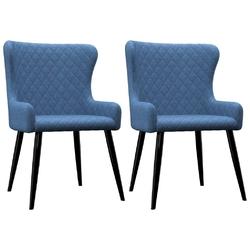 Vidaxl krzesła do jadalni, 2 szt., niebieskie, tapicerowane tkaniną