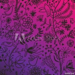 Obraz na płótnie canvas czteroczęściowy tetraptyk przepiękny kwiatowy wzór