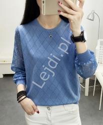 Bluzka sweterkowa w kolorze jeansowym z szyfonowymi rękawami 912