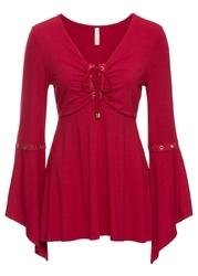 Shirt z długim rękawem, ozdobnymi oczkami i sznurowaniem bonprix czerwony