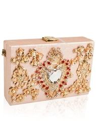 Torebka szkatułka wieczorowa w wyjątkowym kolorze perłowego różu