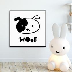 Woof - plakat dla dzieci , wymiary - 30cm x 30cm, kolor ramki - biały