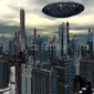 Plakat na papierze fotorealistycznym obcy statek ufo w futurystycznym krajobrazie