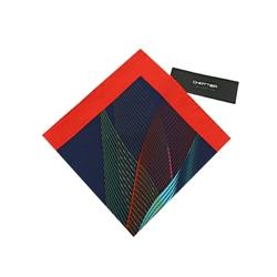 Poszetka męska czerwona z kolorowymi liniami