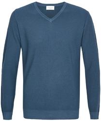 Niebieski sweter Profuomo Sky Blue z wełny pique z dekoltem typu V XL
