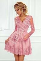 Koronkowa sukienka wieczorowa, cukierkowy róż - amelia