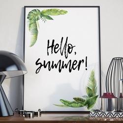 Plakat w ramie - hello summer , wymiary - 50cm x 70cm, ramka - biała