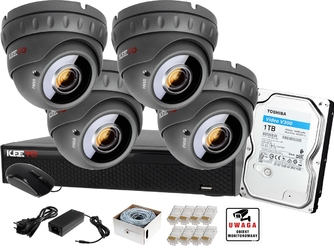 Monitoring ip keeyo zestaw full hd ir40m h265+ 4 x kamera
