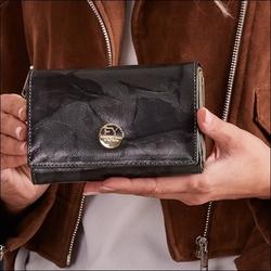 Skórzany portfel damski czarno - zielony forever young 76112 - czarny z zielonym