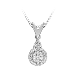Staviori wisiorek. 24 diamenty, szlif brylantowy, masa 0,26 ct., barwa h, czystość si2. białe złoto 0,585. średnica 12 mm.