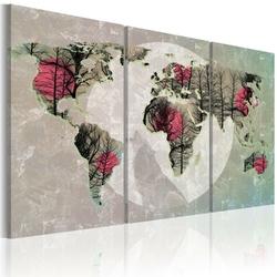 Obraz - mapa świata: pełnia księżyca - tryptyk