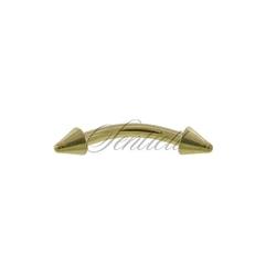 Stalowy 316l kolczyk banan z grotem do brwi - złoty