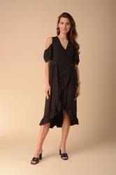 Kopertowa sukienka z wycięciem czarna