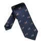 Elegancki granatowy krawat jedwabny laco w psy rasy beagle