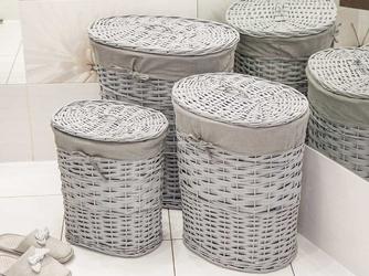 Kosz na pranie  bieliznę  brudownik wiklinowy owalny z pokrywą altom design szary, zestaw 3 koszy