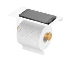 Uchwyt na papier toaletowy altom design z podstawką pod telefon biały