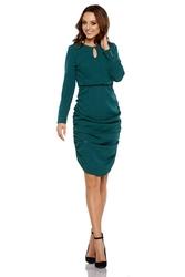 Ciemno zielona wizytowa sukienka z marszczeniami na bokach
