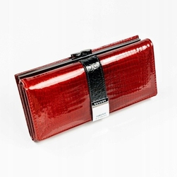 Skórzany portfel damski lakierowany z kryształkami czerwony lorenti 177b - czerwony