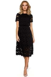 Czarna koronkowa rozkloszowana midi sukienka z krótkim rękawem