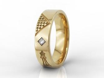 Obrączka damska dla szachistki z żółtego złota z cyrkoniami oprawionymi w karo ob-05z-r-d-c