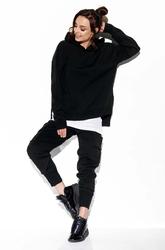 Czarny komplet sweter z kapturem i spodnie bojówki