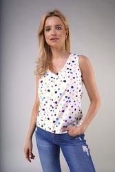 Bluzka bez rękawów z dekoltem v - kolorowe plamki