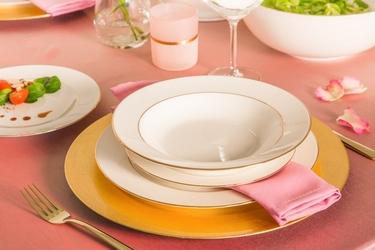 Zestaw obiadowy na 6 osób porcelana mariapaula ecru złota linia 18 elementów