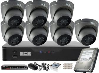 2 mpx zestaw monitoringu bcs rejestrator ip 7x kamera 2mpx bcs-p-262r3wsm-g akcesoria