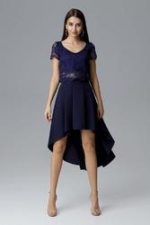 Granatowa dwuczęściowy zestaw koronkowa bluzka + asymetryczna spódnica