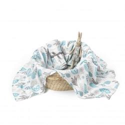 Colorstories - otulacz bambusowo-muślinowy floral turkus l 100x120 cm