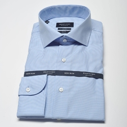 Elegancka koszula męska taliowana SLIM FIT w błękitną krateczkę 39